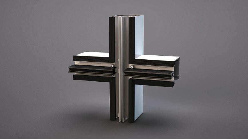 Алюминиевый профиль 3D фрагмент окна