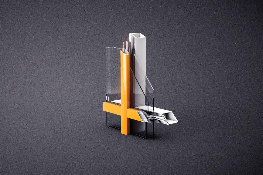 Оконная система алюминиевых профилей 3d